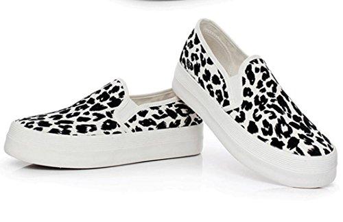SHFANG Señora Zapatos Patrón de leopardo Fondo grueso Un pedal Zapatos de lona Ocio Cómodo Movimiento Correr Estudiantes Blanco Amarillo White