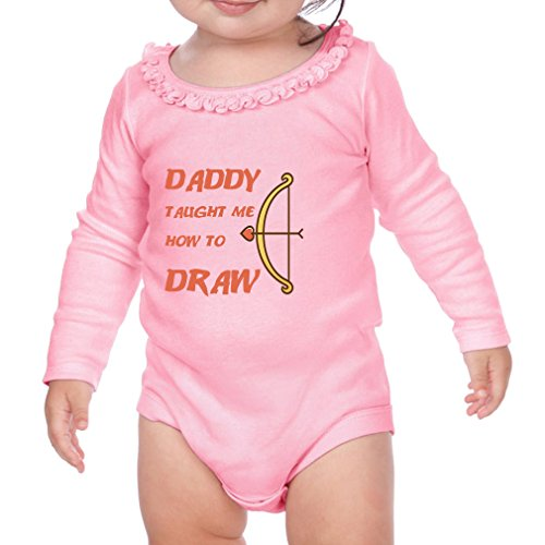Daddy Taught Me How To Draw Cotton Long Sleeve Scoop Neck Girl Sunflower Ruffle Baby Bodysuit - Soft Pink, 18 - Suit How Button A Up To