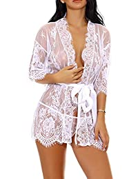 7b2c58f96c4 Lingerie for Women Sexy Long Lace Dress Sheer Gown See Through Kimono Robe