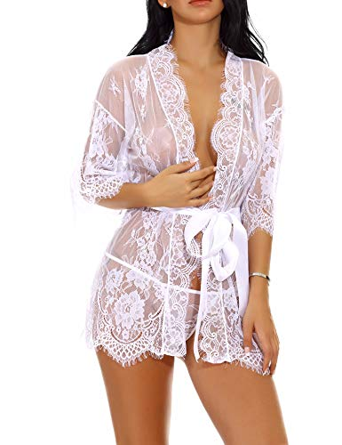 Lingerie Robe for Women Lace Pajama Kimono for Wedding Party Nightwear(White,M)