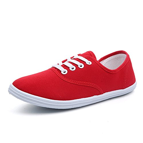 Fashion Flat 35 Woman Breathable Women Shoes Shoes Size Plus Canvas 42 Red White Shoes Perfues Sneakers WnAwIUqW