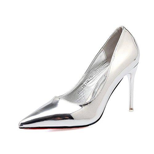 gaolimでライトの女性の靴女性のシングル靴レディース靴レッドウェディング靴Fine with light-silverハイヒール靴8 cm以上 B07CWR3RWF  シルバー 34