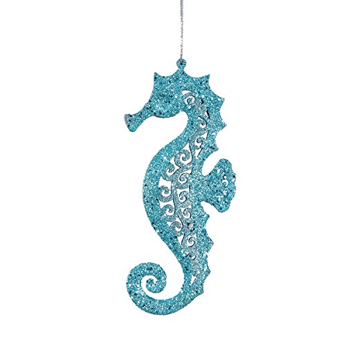 C&F Home Pierced Blue Seahorse Coastal Beach Christmas Xmas Ornament Blue