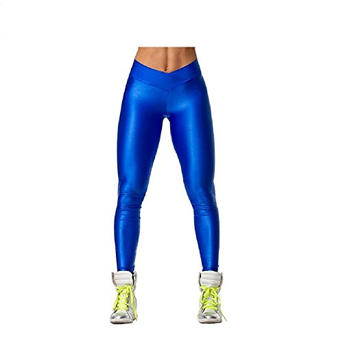 Hupplle Fashion Neon Stretch Skinny Shiny Spandex Leggings Pants (Blue, XLarge)