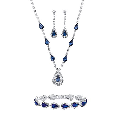Lux Silvertone Pear Cut Simulated Blue Sapphire and Round Crystal Drop Earring, Bracelet and Neckalce Set, Box Clasp, 13 Inches