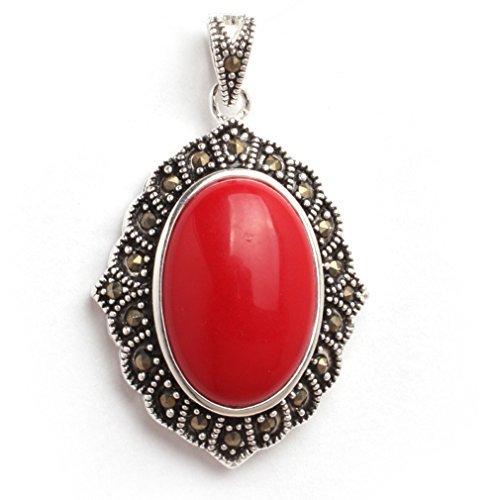 26x42mm Oval Manmade Red Coral Beads Marcasite Tibetan Silver Pendant