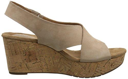 Clarks Caslynn Shae Damen Beige Leder Keil Sandalen Schuhe Größe Neu EU 41