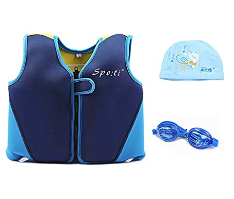 Baby's Swim Large Life Vest 3-4 Years Colour Blue and Yellow include Swimming Goggles and Swim Cap (Life Vests 5x)