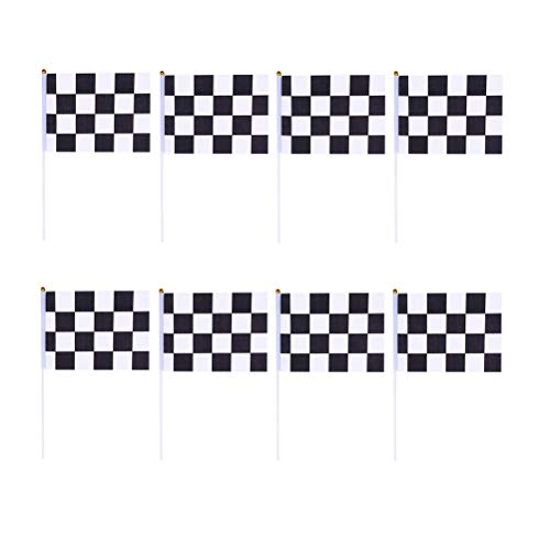 (Toyvian Checkered Small Waving Flag Racing Banners Chequered Formula One F1 Racing Banners Hand Waving Flags Bumper Stickers 30pcs (Black +)