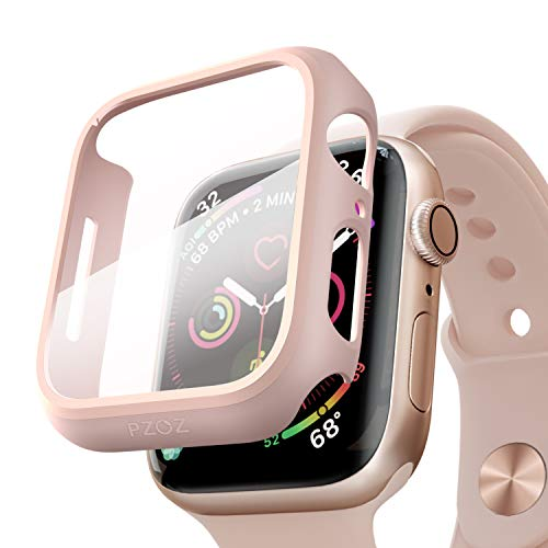pzoz Compatible Apple Watch Series 5 / Series 4 Case with Screen Protector 40mm Accessories Slim Guard Thin Bumper Full Coverage Matte Hard Cover Defense Edge for Women Men New Gen GPS iWatch (Pink) from pzoz