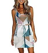 XCHQRTI Women Summer Casual Mini Dresses Sleeveless Spaghetti Straps Sundress Stripe Short Dress ...