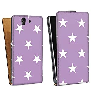 Diseño para Sony Xperia Z L36h DesignTasche Downflip black - Polka Stars - flieder und weiß
