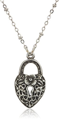 Pewter Heart Lock - 1928 Jewelry Antiqued Pewter Tone Heart Shaped Paddle Lock Charm Pendant Necklace, 28