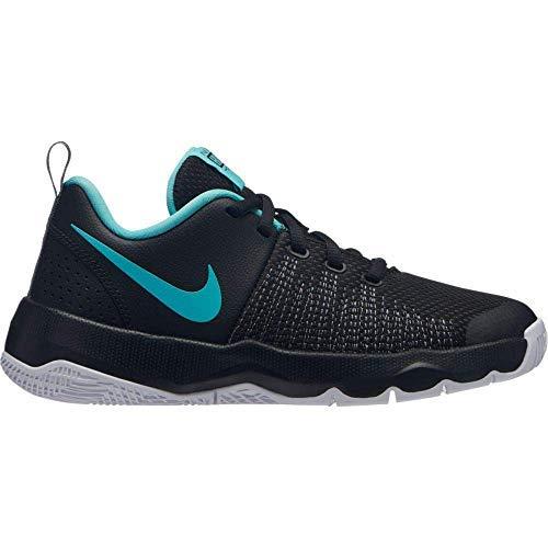 Nike Boy's Team Hustle Quick (GS) Basketball Shoe Black/Aurora Green/Cool Grey Size 6 M US