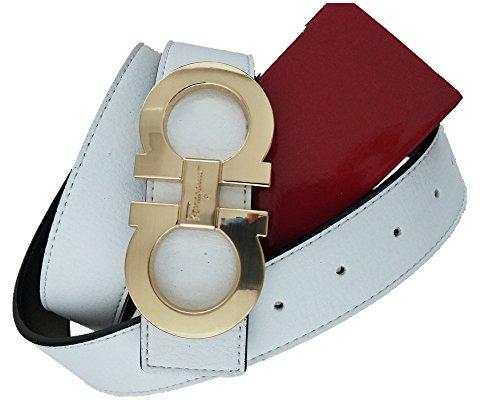 Salvatore Ferragamo Adjustable Reversible Belt White Black with Gold Buckle from Salvatoree