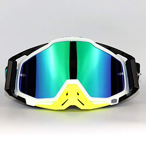 HYHMJ Motorcycle Goggles, Hundred Off-Road Goggles ski Goggles Riding Glasses Off-Road Helmets Goggles Traffic jams Goggles Convertible Glasses with Headband Glasses,E