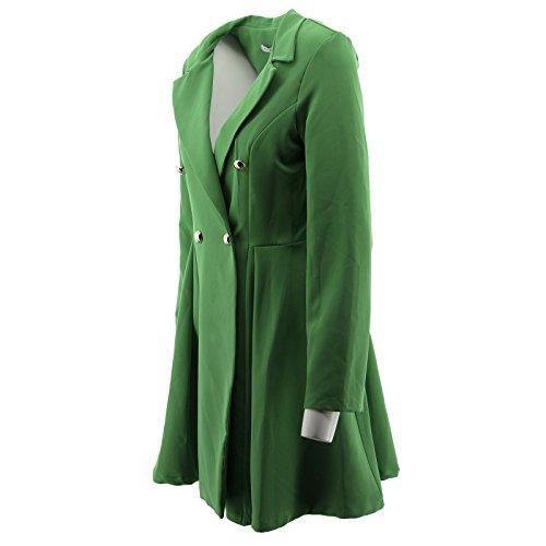 Chaqueta vestido largo Blazer elegante pecho Verde de tela de Mujeres Netgozio atractiva doble ocasional Manera ZFdRwAqZ