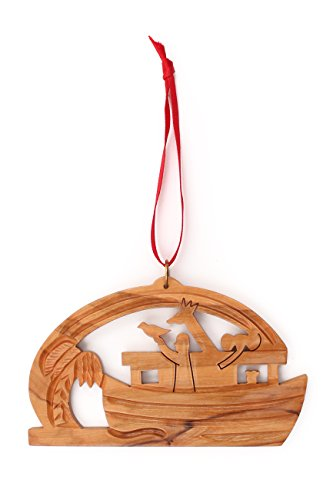 From The Earth - Olive Wood Noah's Ark Christmas Ornament -