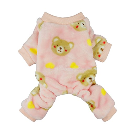 Fitwarm Pink Sweetie Bear Dog Pajamas Pet Winter Coat Cozy Velvet Clothes, XS