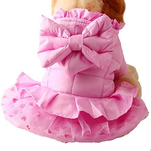 FLAdorepet Cute Pink Dog Puppy Luxury Princess Bow Tutu Skirt Dress Warm Winter Small Pet Cat Dog Down Coat Jacket Chihuahua Dog Clothes (16, (Princess Dog Jacket)