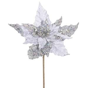 "Club Pack of 12 Silver Velvet Artificial Christmas Poinsettia Spray Picks 10"""