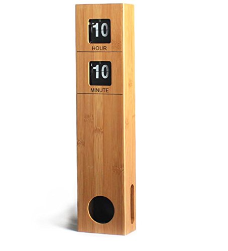 Modern│Sleek│Sophisticated│Minimalist Large Tall Pendulum Wall Flip Clock Quality Bamboo Made Case Battery operated, Quiet Wall Clock - Wood, 18.9x4.09x2.3