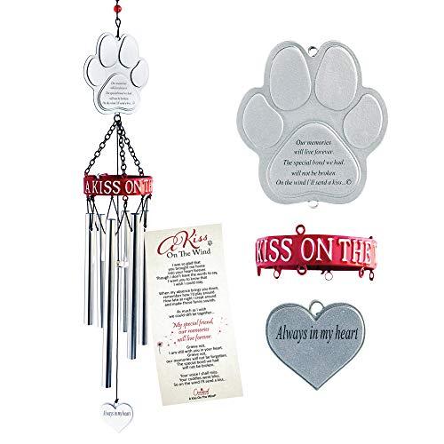 Pet Memorial Wind Chime. 19-Inch Pet Memorial Gift with Metal Pawprint & Sentimental