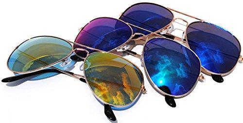 Classic Aviator Sunglasses Metal Gold Color Frame Full Mirror Lens 2 blue 1 yellow - Classic Metal Aviator Sunglasses