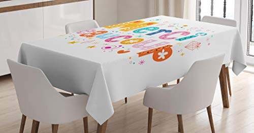 Lunarable French Script Tablecloth, Merci Beaucoup Quote Written with Flowers Balloons Congratulations Pattern, Dining Room Kitchen Rectangular Table Cover, 60 W X 84 L Inches, Multicolor