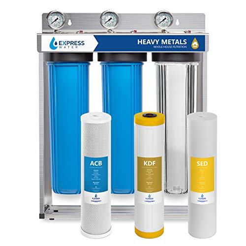 Express Water Heavy Metal Whole House Water Filter - 3 Stage Home Water Filtration System - Sediment, KDF, Carbon Filters - includes Pressure Gauges, Easy Release, and 1