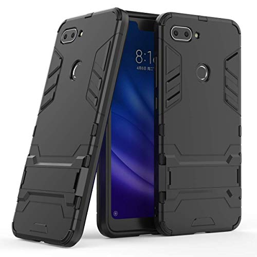xiaomi mi 8 lite case,MYLBOO Dual Layer Rugged Hybrid [Hard Shockproof] Case with Kickstand for xiaomi mi 8 lite Cover [Compatible with Screen Protector] (Black) - Hard Hybrid Case
