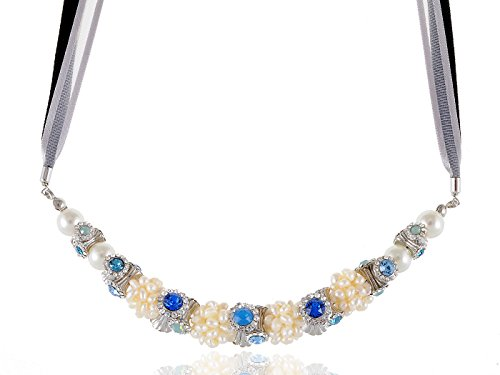 Alilang Sapphire Blue Synthetic Opal Swarovski Rhinestone Faux Pearl Bead Tri Ribbon Necklace