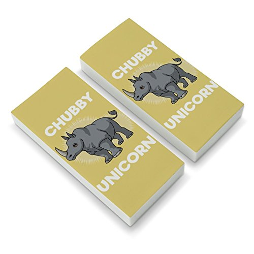 Chubby Unicorn Rhino Rhinoceros Eraser Set of 2