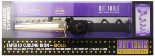 HOT TOOLS HTG1852 Grande Tapered Curling Iron, Gold/Black, 3/4 Inch to 1 1/4 Inches