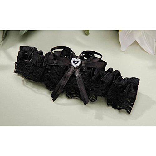 Satin Lace Garters - Garter Wedding Prom Satin and Lace Trim with Heart Black