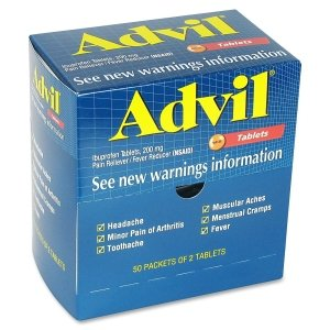 Physicianscare Advil Ibuprofen Individually Wrapped Medication, 50 Doses Of Two Tablets, 200 Mg