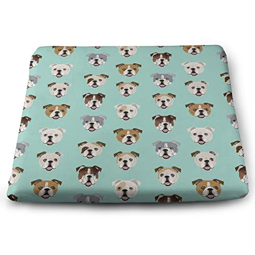 SEVENHOUSE Comfort, Memory Foam Cushion Orthopedic Design to Relieve Back, Sciatica, Coccyx and Tailbone Pain, Perfect for Your Office Chair, Car Seat, Sitting on Floor, English Bulldog Dog Face