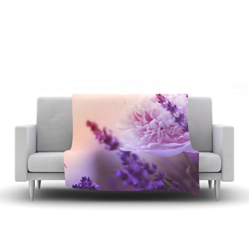 60 by 50-Inch Kess InHouse Cvetelina Todorova Purple Mess Purple Abstract Fleece Throw Blanket 60 X 50