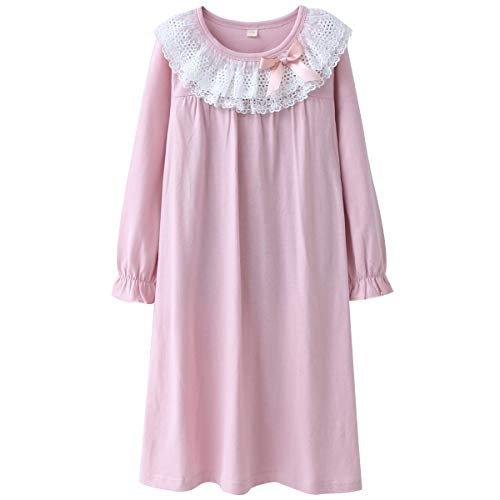 DGAGA Kids Girls Cotton Lace Nightgown Long Sleeve Solid Sleepwear Top Dresses Pink 11-12 Years /160cm