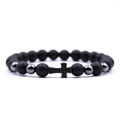 Dolovely 8mm Black Matte Onyx Beads CZ Cross Charm Bracelet Set for Men Women by Dolovely (Image #4)