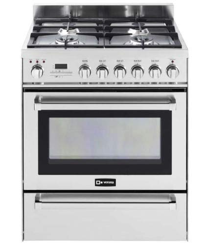 Verona VEFSGE304PSS 30″ Pro Dual Fuel Range Oven 4 Burner Convection Warming Drawer Stainless Steel