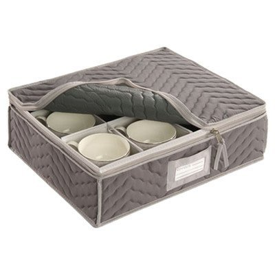 China Cup Storage Chest Deluxe Quilted Microfiber Light Gray 13 H X 15 5 W X 5 D