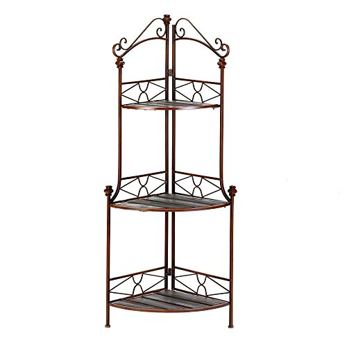 BESTChoiceForYou Rustic Corner Bakers Rack Shelf Storage Wood and Metal Kitchen Baker Home Display Decor Stand by BESTChoiceForYou