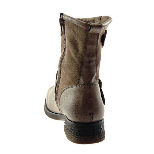 Légèrement Mode Bi Talon Bottine Intérieur Vieilli Kaki matière Motard Cm 3 Angkorly Lanière Bloc Fourrée Chaussure Boucle 5 Effet Femme RwTIqp