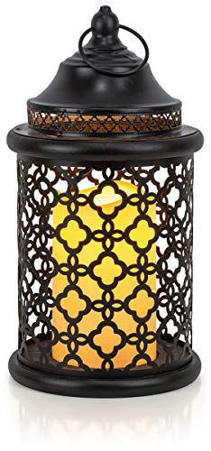 VP Home Decorative Flickering Flameless LED Candle Lantern with Remote Control (Black)]()