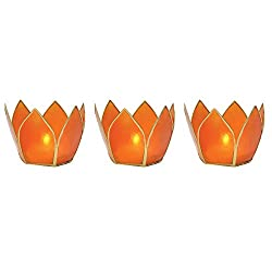 Luna Bazaar Capiz Lotus Candle Holders (2.25-Inch, Mango Orange, Gold-Edged, Set of 3) - For Use with Tea Lights - For Parties, Weddings, and Homes