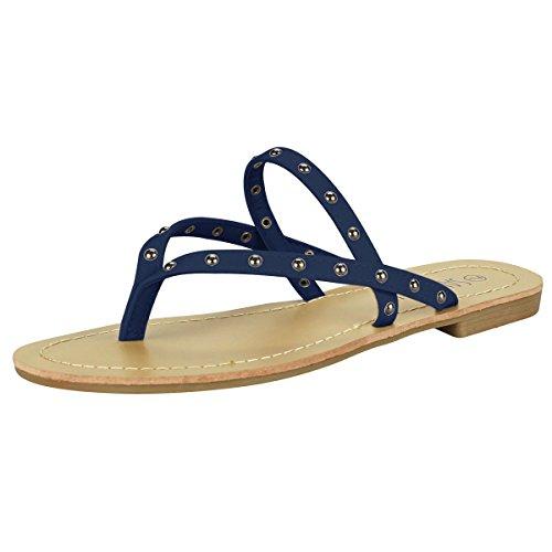 SANDALUP - Sandalia remache para mujer, color Azul, talla 38