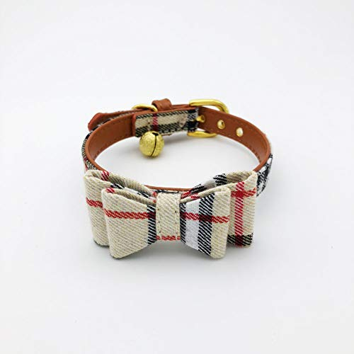 PetFavorites Bowtie Small Dog Cat Collar with Bell - Plaid Bandana Collar for Puppy Kitten - Teacup Yorkie Chihuahua Clothes Costume Outfits Accessories, Adjustable 8.7 to 11-Inch (Beige Plaid Bow)