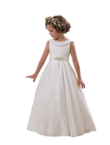 (Elegant O-Neck Sleeveless A-Line Stain Party Wedding Dresses for Girls 2-12 Year Old Ivory,Size 2)