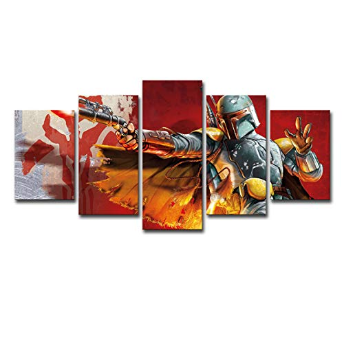 comeonzhou Modern Bedroom Living Room Home Decoration 5 Pieces Star Wars Warrior Boba Fett Poster
